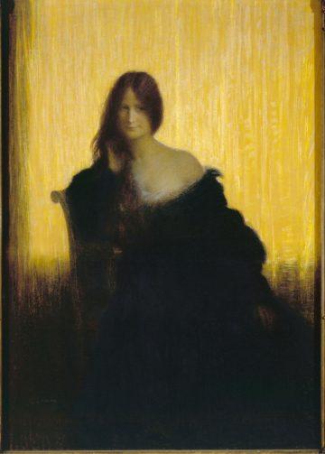 """Charles-Lucien Léandre (1862-1930). """"Sur champ d'or : Madame Lemoine,  soeur de l'artiste"""", 1897. Musée des Beaux-Arts de la Ville de Paris, Petit Palais."""