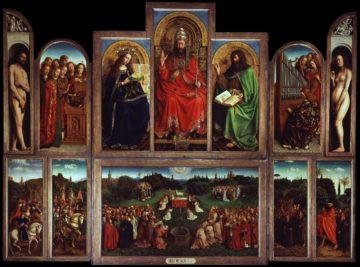 L'Adoration de l'Agneau mystique ou Autel de Gand (en néerlandais : Het Lam Gods, littéralement L'Agneau de Dieu), achevé en 1432, est considéré comme l'un des chef-d'œuvres de la peinture des primitifs flamands et l'un des trésors du patrimoine mondial. Commandé par Joost Vijdt, riche marguillier de l'église Saint-Jean (devenue depuis la cathédrale Saint-Bavon de Gand), pour la chapelle privée de sa femme, le polyptyque est commencé par Hubert Van Eyck et terminé par Jan Van Eyck après la mort de son frère en 1426. Il est placé le 6 mai 1432 sur l'autel de la chapelle du commanditaire, dans l'église Saint-Jean. Par la suite, il est déplacé, pour des raisons de sécurité, dans la chapelle principale de la cathédrale.  Le retable représente une « nouvelle conception de l'art », dans laquelle l'idéalisation de la tradition médiévale cède la place à une observation rigoureuse de la nature. Le retable est composé d'un total de 24 panneaux encadrés, qui offrent au spectateur deux scènes différentes, selon sa position ouverte ou fermée, obtenue en repliant vers l'intérieur les panneaux situés à ses extrémités.  Le registre (ligne) supérieur de l'intérieur du retable représente le Christ-Roi assis entre la Vierge Marie et saint Jean-Baptiste.  À droite et à gauche de ces trois personnages, des anges chantant et jouant de la musique et, sur les panneaux extérieurs, Adam et Ève.  Le registre inférieur du panneau central représente l'adoration de l'Agneau de Dieu, par plusieurs groupes de personnes absorbées dans le culte et la prière, et éclairés par une colombe représentant le Saint-Esprit. Les jours de semaine, les panneaux étaient repliés, montrant l'Annonciation de Marie et le portrait des donateurs, Joost Vijdt et de sa femme Lysbette Borluut. Une inscription sur le cadre d'origine indiquait que Hubert van Eyck maior quo nemo repertus (meilleur que quiconque) avait débuté la peinture du retable, mais que Jan van Eyck - qui se qualifie lui-même de arte secundus (deuxième 