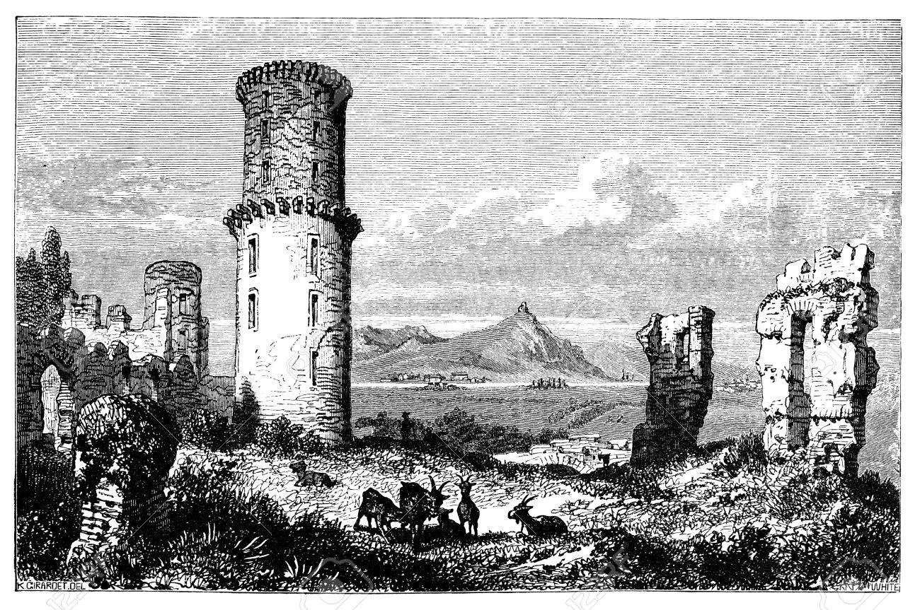 19th century engraving of ruins in Campagna, Italy, photographed from a book  titled 'Italian Pictures Drawn with Pen and Pencil' published in London ca. 1870.  Copyright has expired on this artwork. Digitally restored.